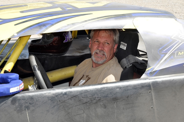 Horace Langford Jr. / Pahrump Valley Times  Above, Brett Gambles roars arund the turn at Pahrump Valley Speedway to test his new Super Stock out that he bought from racer Dan Snowden.