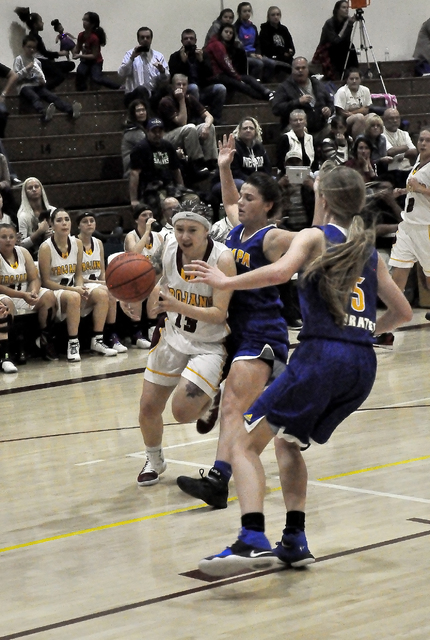 Sabin Chaidez drives the ball down the court against Moapa Valley on Tuesday. The girls return home next week on Friday, Dec. 9.  Horace Langford Jr. / Pahrump Valley Times