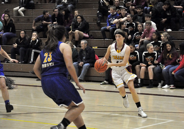 Horace Langford Jr. / Pahrump Valley Times -  Bethany Calvert had her best game of the year against River Valley in Arizona on Saturday, scoring 11 points.