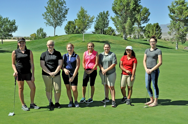 Horace Langford Jr. / Pahrump Valley Times  The 2016 Trojans girls golf team from left to right: Makalea Petrie sophomore, Skylar Norman junior, Desirae Humbree junior, Jessica Pearson sophomore,  ...