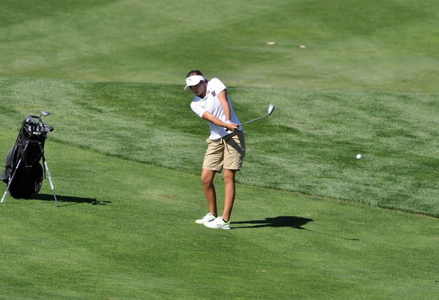 Horace Langford Jr. / Pahrump Valley Times - Sophomore golfer Jessica Pearson hits a nice fairway shot at Mountain Falls on Wednesday's Sunset League match, which was the last one of the season. ...