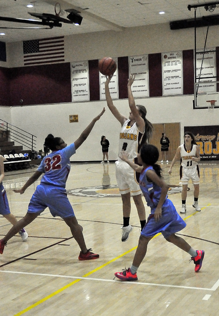 Junior Alyvia Brisco (2) takes a shot against Western when the Trojans lost to them by one point, 29-28 on Jan. 24 at Pahrump. The girls team got their revenge and beat the Warriors on Thursday, 3 ...