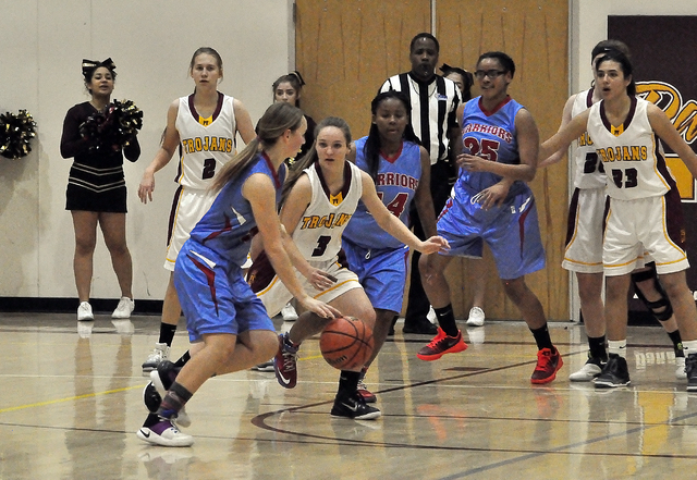 Jackie Stobbe defends against Western on Jan. 24 when Western took the first game of the series from Pahrump at the end of the game.  Horace Langford Jr. / Pahrump Valley Times