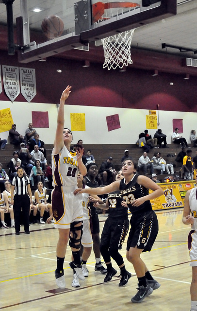 Horace Langford Jr. / Pahrump Valley Times   Jill Smith sinks a basket against Bonanza on Monday night. Smith had 7 points for the night.