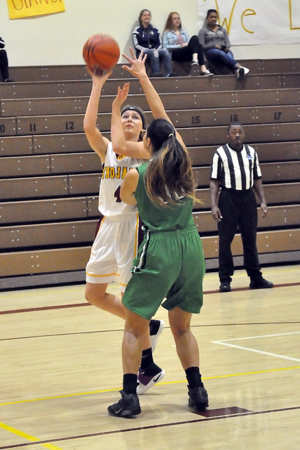 Horace Langford Jr. / Pahrump Valley Times  Koral Hearn takes a shot against Virgin Valley on Dec. 29. The girls fell to the Bulldogs 35-25.