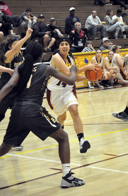 Horace Langford Jr. / Pahrump Valley Times   Madeline Pereira-Villafuerte drives the ball against the Bonanza defense on Monday.