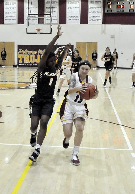 Sabin Chaidez drives the ball against Bonanza on Dec. 12. She went down hard late in this game with a knee injury. It is still unknown whether or not she will return to the team.  Horace Langford  ...