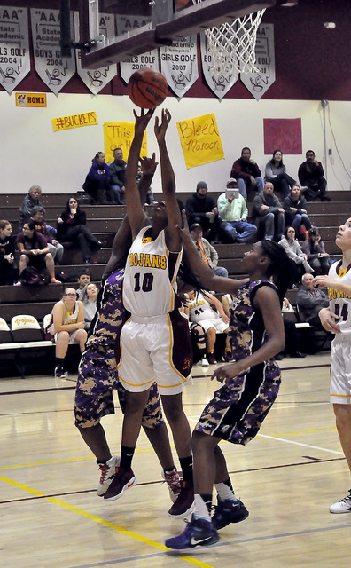 C'mone Wrayball gets some shooting action against Sunrise Mountain as she sinks this basket against the Miners on Tuesday. Almost everyone on the roster scored.  Horace Langford Jr. / Pahrump Va ...