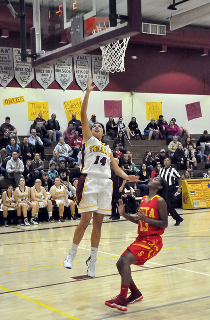 Horace Langford Jr. / Pahrump Valley Times Madeline Pereira-Villafuerte takes a shot against Tech last Friday. She had two points in the 47-17 rout against Bonanza on Monday.