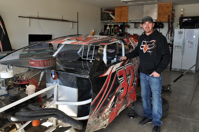 Horace Langford Jr. / Pahrump Valley Times  Beau Gott stands in front of his Modified at his home in Pahrump. Gott said he couldn't do it without his sponsors, Gavish Real Estate and the Stage Coa ...