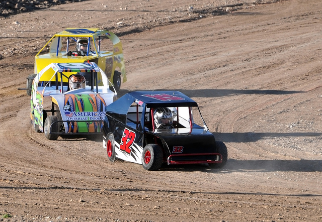 Horace Langford Jr. / Pahrump Valley Times   Tanner Gott in the lead on the track at the Pahrump Valley Speedway. A Mini Dwarf is like a go-cart car and goes about 20 miles an hour.