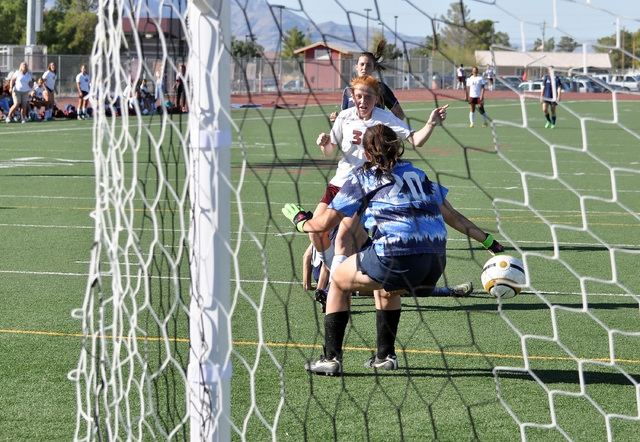 Horace Langford Jr./Pahrump Valley Times Kaitlyn Carrington scores her third goal of the game against the Eagles on Wednesday in front of a home crowd.