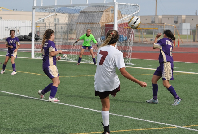 Horace Langford Jr. / Pahrump Valley Times  Vaniah Vitto attempts a goal during the Sunrise Mountain game on Monday. Vitto scored one of the goals during the 2-1 victory over the Miners.