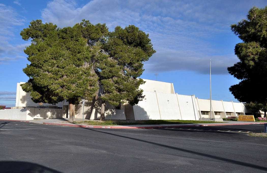 The old high school gym and what is known as the freshmen academy could be demolished to make room for a new community recreation center.  Horace Langford Jr. / Pahrump Valley Times
