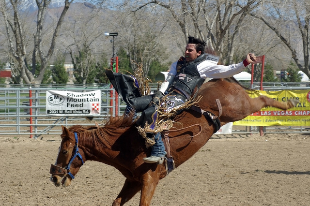 An unknown high school bronc rider during the last high school rodeo held in town in 2009. A rodeo would also not be a rodeo without bronc riding and like the pro rodeo, there usually is plenty of ...
