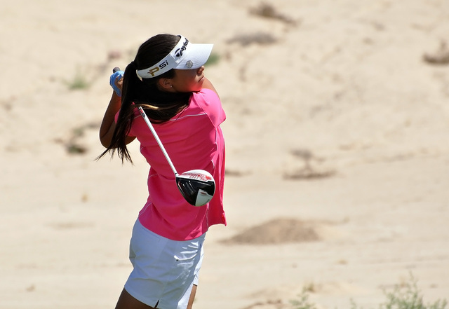 Horace Langford Jr / Pahrump Valley Times   Eighth grade golfer Breanne Nygaard tees off on the first hole at Mountain Falls on Tuesday. At this junior golf event, she finished third to two former ...