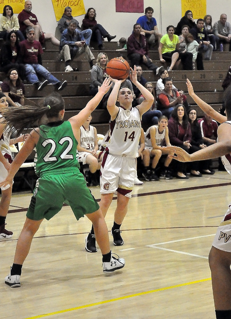 Madison Hansen takes a shot for the girls junior varsity against Virgin Valley on Dec. 29.  Horace Langford Jr. / Pahrump Valley Times