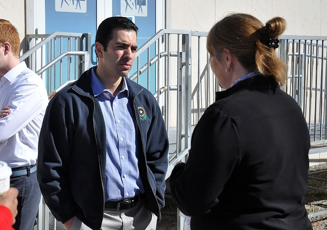 Congressman Ruben Kihuen talks with Stacy Smith, director of the NyE Communities Coalition, during his visit to Pahrump on Friday.  Horace Langford Jr. / Pahrump Valley Times