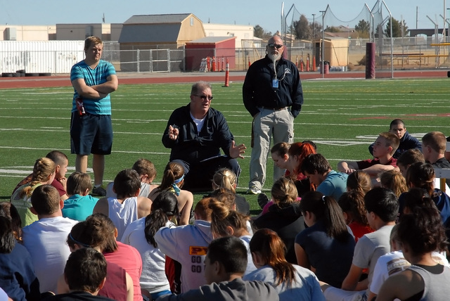 Horace Langford Jr. / Pahrump Valley Times - Ed Kirkwood as head PVHS track coach in  2013.