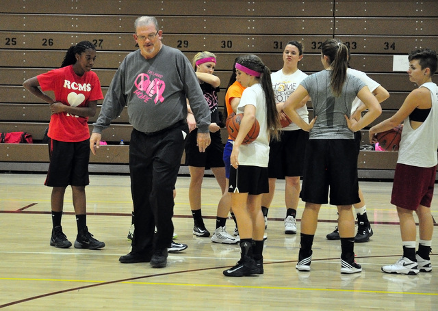 Horace Langford Jr. / Pahrump Valley Times  Ed Kirkwood imparting wisdom on the girls basketball team probably in 2014.