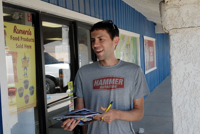 Horace Langford Jr / Pahrump Valley Times   Ultramarathon runner Pete Kostelnick, stopped at the Horizon Market on Bell Vista Road to share his thoughts on his recent Badwater win in Death Valley.