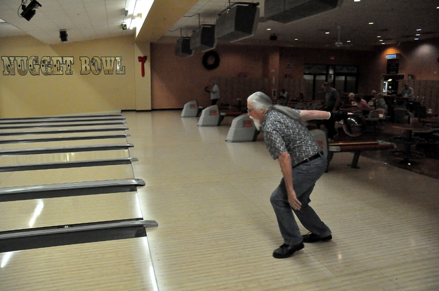 Horace Langford Jr. / Pahrump Valley Times -  Bowler Steve Loeck bowled four strikes in a row as the PVT snapped these photos of him at the Pahrump Nugget Bowling center on Monday.