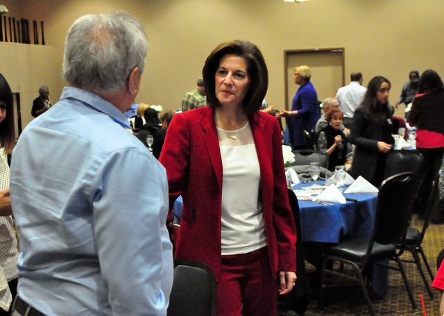 Horace Langford Jr. / Pahrump Valley Times - U.S. Senate Democratic Candidate Catherine Cortez Masto is tied with Joe Heck, a Republican who represents Nevada's 3rd Congressional District for th ...