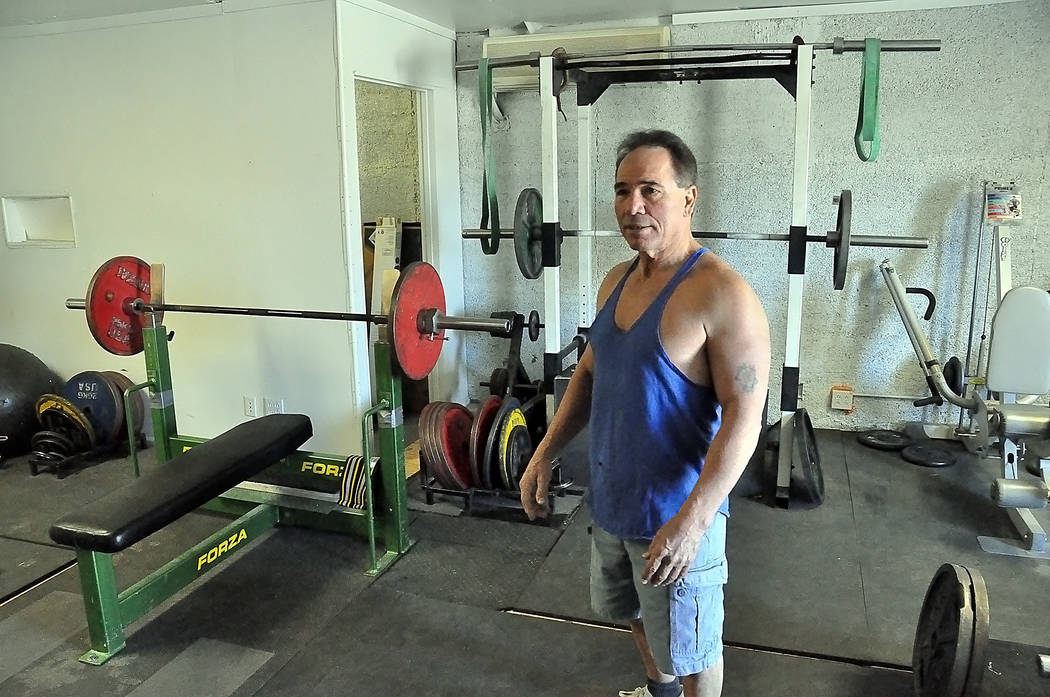 Gary Miller's home gym, which he allows his clients to use for free if they sign up with him to lose weight. Miller is a certified weightlifting trainer.  Horace Langford Jr. / Pahrump Valley Times