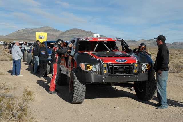 Horace Langford Jr. / Pahrump Valley Times - Pahrump 250 Off-Road, Time Trials, drivers wait in line to put their vehicles on the corse.