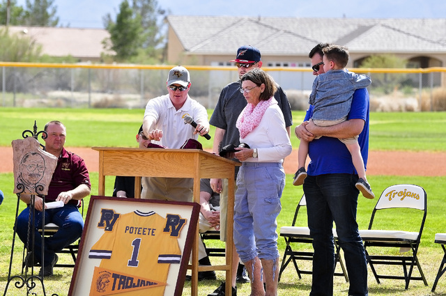 Horace Langford Jr. / Pahrump Valley Times At the Rod Poteete Memorial dedication on March 21 friends, family and former members of his  team gather on the field to honor the man they once called  ...