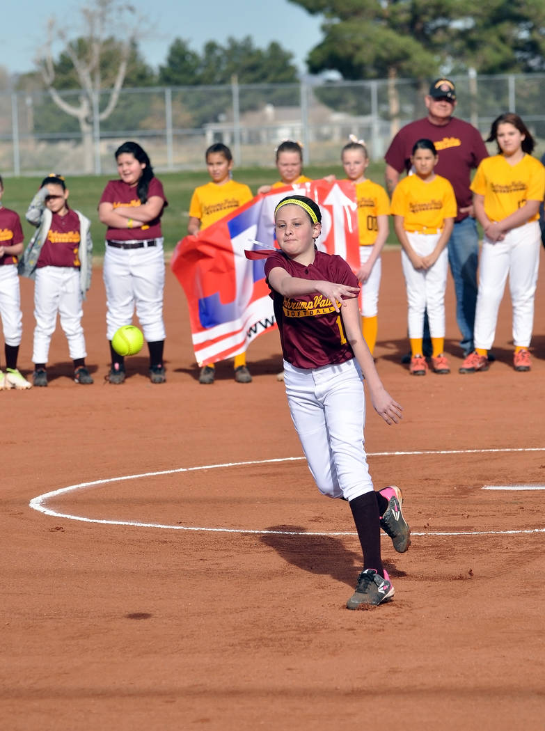 PYSA softball held its opening ceremonies for the season on Saturday at Ian Deutsch Park. The association has 80 girls across six teams. Horace Langford Jr. / Pahrump Valley Times