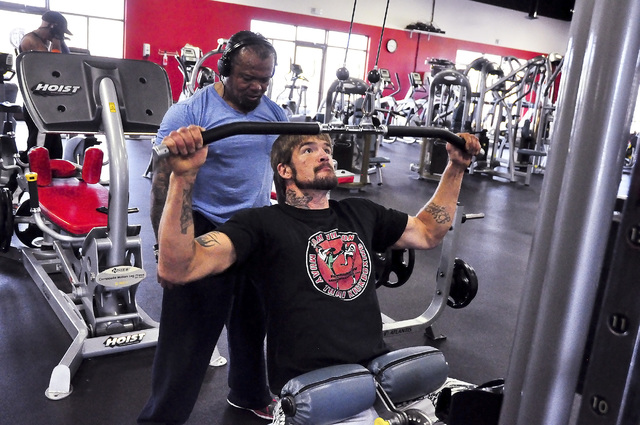 Horace Langford Jr. / Pahrump Valley Times  Brandon Schneider works out with work-out partner George Arceo. For five years and eight fights Brandon Schneider thrilled fans in the ring.
