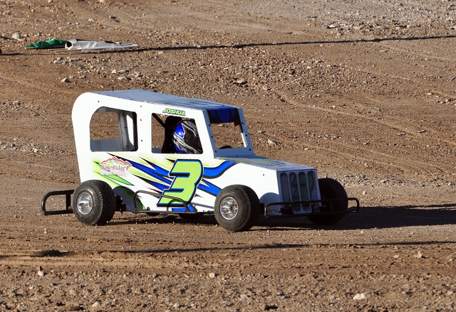 Horace Langford Jr. / Pahrump Valley Times  Joshua Slusher in his car at the track during a race at the Pahrump Valley Speedway. The Mini Dwarfs race on the infield of the bigger track.
