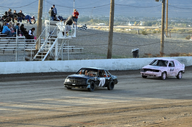 Horace Langford Jr. / Pahrump Valley Times -  Pahrump Speedway Mini Stocks race for the last time until next year.