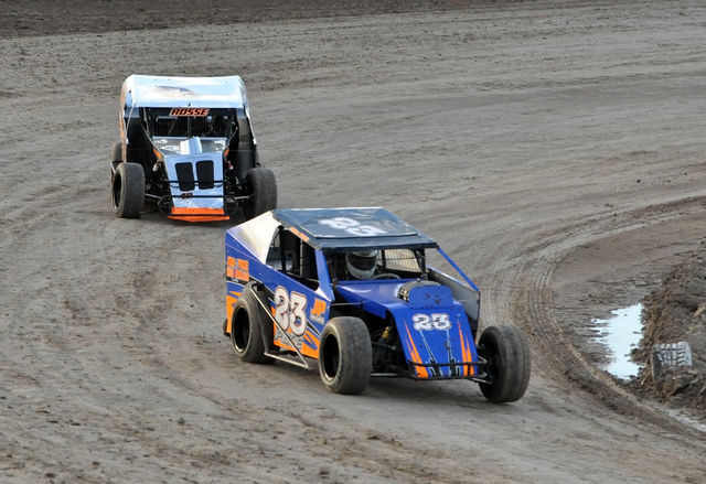 Horace Langford Jr. / Pahrump Valley Times  Jake Pike at 12-years-old in the (23) blue car races in his first race as a Dwarf driver.