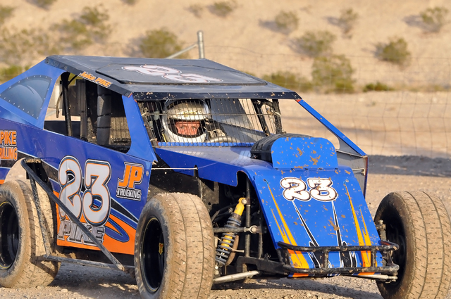 Jake Pike in his new Western Modlite at the Pahurump Valley Speedway. It was his first race on the quarter-mile track and he took fourth place for his efforts.  Horace Langford Jr. / Pahrump Valle ...
