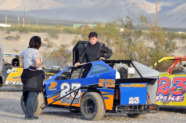 Jake Pike with his no. 23 getting ready to race for the first time in the Dwarf Class at Pahrump Valley Speedway. Pike received a special invitation to race in the association.  Horace Langford Jr ...