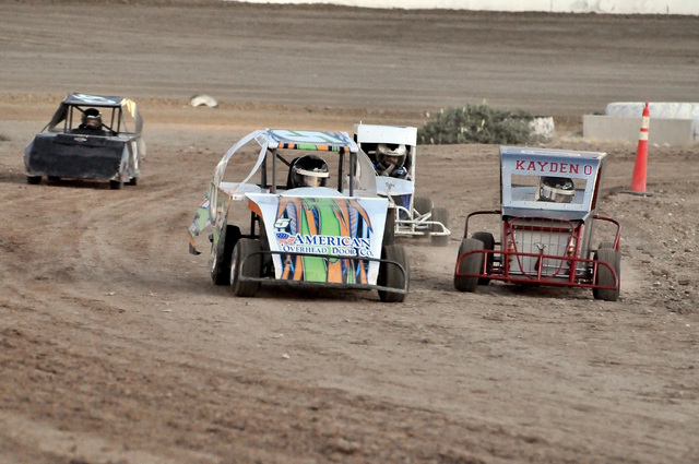 Horace Langford Jr. / Pahrump Valley Times They are called Mini Dwarf racers and it's for the kids. This is the second year that the kids can race at the speedway. There are two divisions, Junio ...