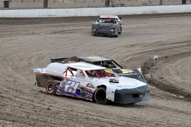 Horace Langford Jr. / Pahrump Valley Times  Rafael Flores tears around the track in his Super Stock car on the last race of the 2016 season.