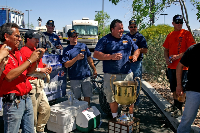 Horace Langford Jr. / Pahrump Valley Times - Terible's 250 2006, winning team Herder Motorsports with the trophy.
