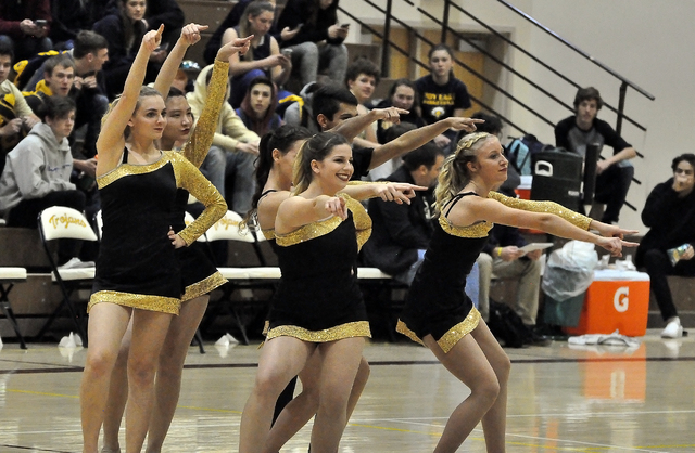 The Pahrump Valley Trojans dance team shows off some moves at the recent Mojave game on Jan. 30.  Horace Langford Jr. / Pahrump Valley Times