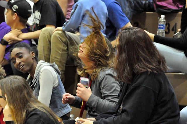 A Pahrump Valley High School student gets caught up in the excitement of the game during the Mojave basketball game on Jan. 30. Both boys and girls games went down to the last minute.  Horace Lang ...
