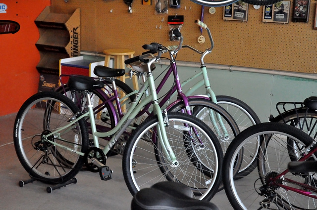 Horace Langford Jr. / Pahrump Valley Times  These bikes are called comfort bikes because they are a comfortable ride. They come with comfy saddles, some of shocks and they have anywhere from seven ...