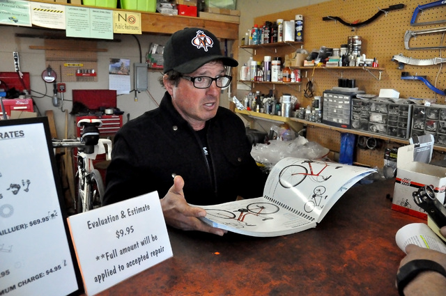 Horace Langford Jr. / Pahrump Valley Times  Cyclist Mark Tucsnak said if he doesn't have it in his store, he has 300 bikes he can order from and it only takes a day to arrive.