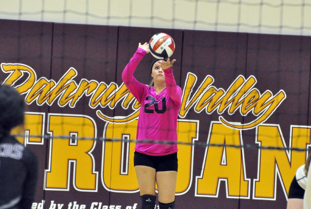 Horace Langford Jr. / Pahrump Valley Times  Freshman Maddie Hansen serves the ball for the Trojans.