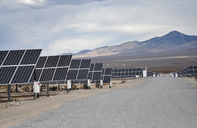 Horace Langford Jr. / Pahrump Valley Times - Valley Electric Association, Inc.'s 15-megawatt community solar project went online on Wednesday. The output from the plant will be available to VEA me ...