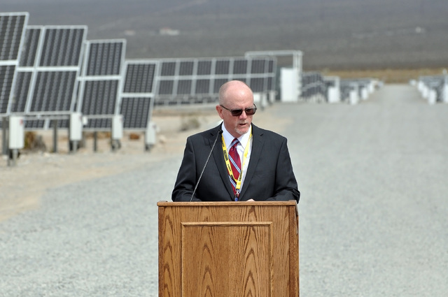 Horace Langford Jr. / Pahrump Valley Times - Mike Hengel, executive vice president of corporate communications at Valley Electric Association, Inc. speaks at the opening ceremony of the 15-megawat ...