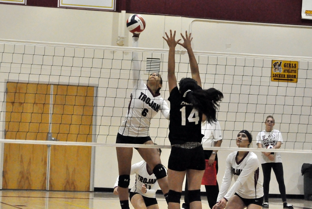 Horace Langford Jr. / Pahrump Valley Times  Isabelle Meza delivers a kill shot against Chaparral on Monday night in the 3A Southern Region playoffs.