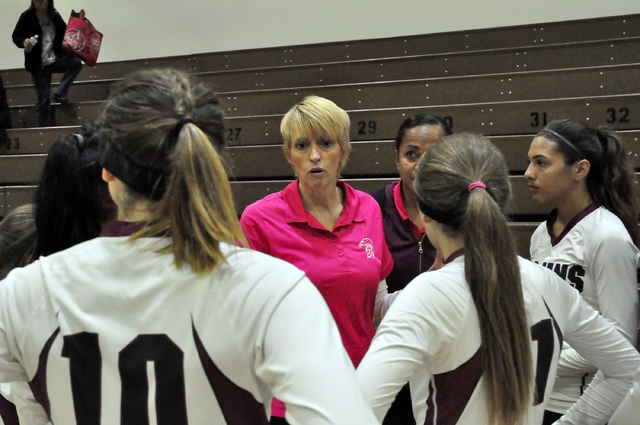 Trojans coach Jill Harris reminds her team to keep things focused on the win.  Horace Langford Jr. / Pahrump Valley Times