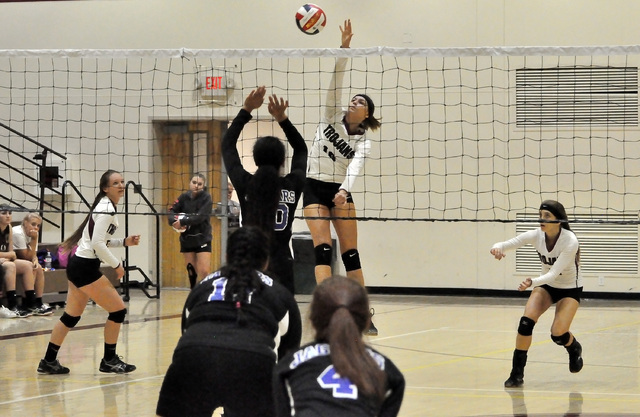 Horace Langford Jr. / Pahrump Valley Times   Koral Hearn gets high on the Jaguars. She had 10 kills for the night.